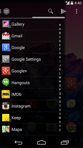 The slide-out app drawer in Action Launcher