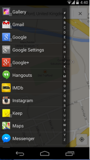 The slide-out app drawer