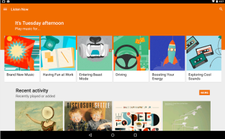 The main menu on the Android Version of Google Play Music