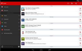 Podcast download manager in tablet mode