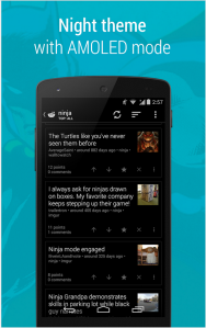 Main interface in dark mode