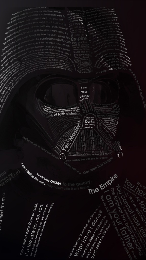 Darth Vader Typography Typography Mobile Wallpaper 1080 1920 5442