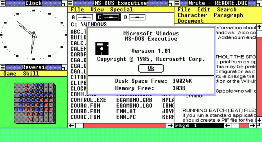 This was the very first version of Windows and it has a graphical user interface, mouse support and important apps.