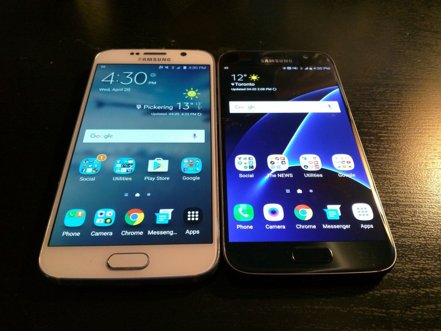 Galaxy S6 (left) and Galaxy S7 (right)