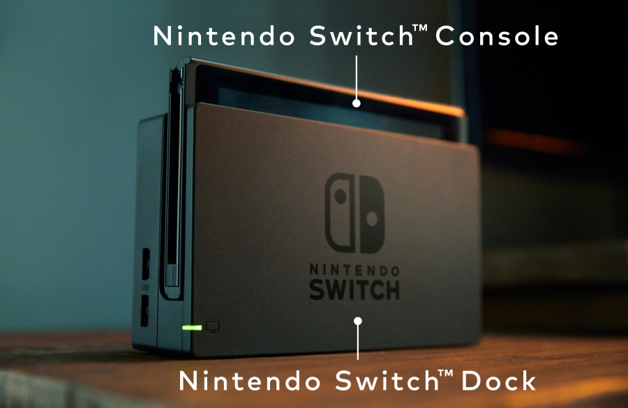Nintendo Switch in it's docking station.