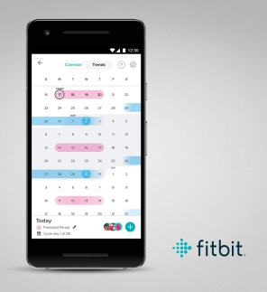 Fitbit app screen for Android showing female health and calendar