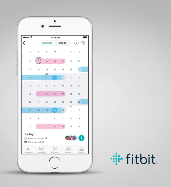 Fitbit app screen for IOS showing female health and calendar