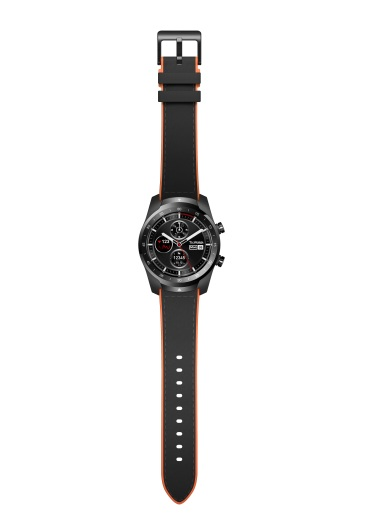 TicWatch Pro Black + black leather _ orange rubber strap