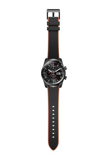 TicWatch Pro Black + black leather _ orange rubber strap