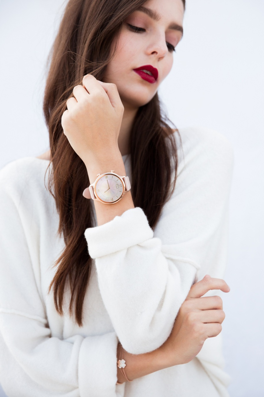 TicWatch C2_Rose Gold_ Woman front facing_web