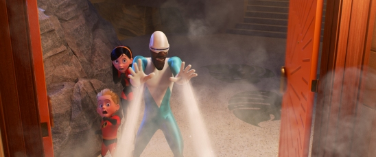 "CHILLING OUT – Frozone is back in ""Incredibles 2,"" cooler than ever and lending a helping hand when the Parrs need him most. Featuring the voices of Huckleberry Milner as Dash, Sarah Vowell as Violet ad Samuel L. Jackson as Frozone aka Lucius Best, ""Incredibles 2"" opens in U.S. theaters on June 15, 2018. ©2018 Disney•Pixar. All Righs Reserved."