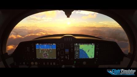 Microsoft Flight Simulator Cockpit Sunrise Screenshot with Logo
