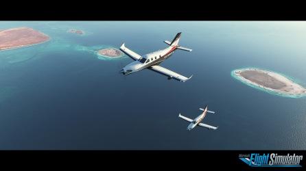 Microsoft Flight Simulator Islands Screenshot with logo