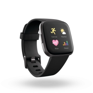 Product render of Fitbit Versa 2, 3QTR view, in Black and Carbon.