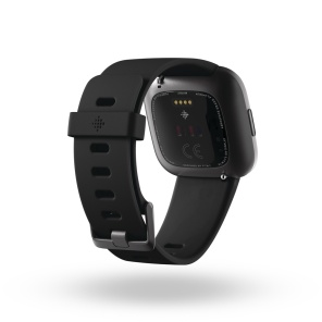 Product render of Fitbit Versa 2, back view, in Black and Carbon.