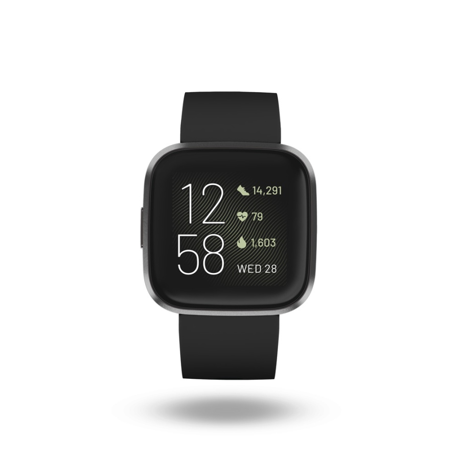 Product render of Fitbit Versa 2, front view, in Black and Carbon