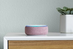 Amazon Echo Dot, Plum, on dresser