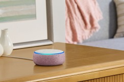 Amazon Echo Dot, Plum, on side table
