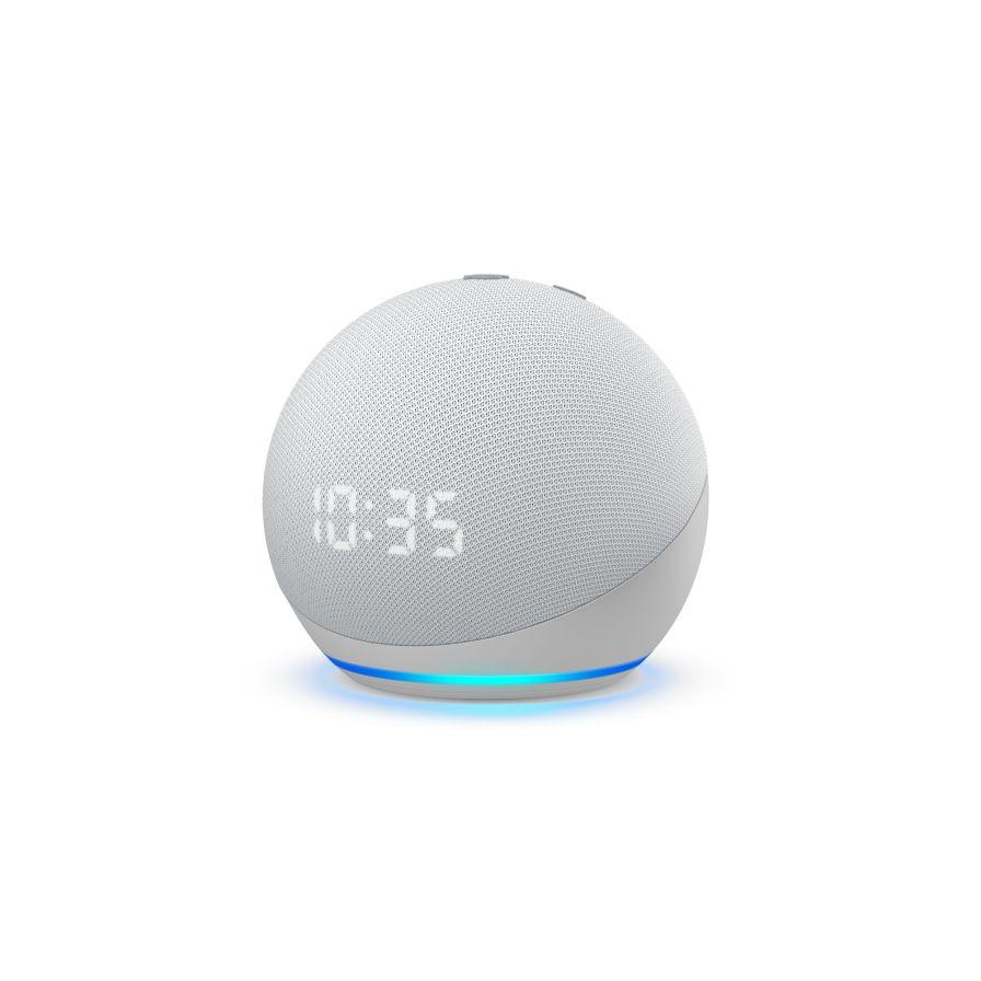 Amazon Echo Dot with Clock (4th Gen) - Glacier White