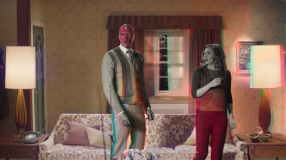 Paul Bettany is Vision and Elizabeth Olsen is Wanda Maximoff in Marvel Studios' WANDAVISION, exclusively on Disney+.
